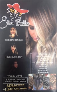 Ella Bella hair salon located in 9 milvan Dr Plaza Latina Brampton