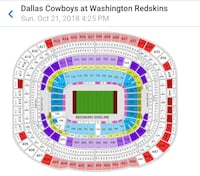 Redskins and Cowboys game ticket for 10/21/18 @ 4:25 pm Fairfax, 22033
