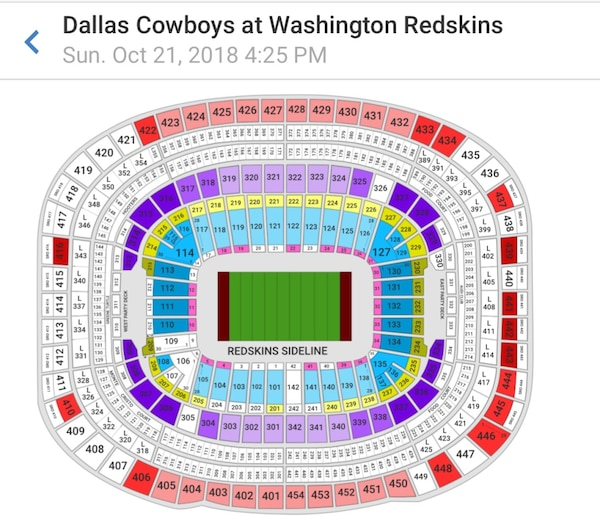 Redskins and Cowboys game ticket for 10/21/18 @ 4:25 pm