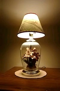 white and black floral table lamp Evansville, 47715