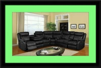 Cshape sectional black bonded leather Crofton