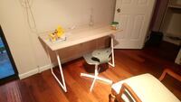 White metal and wood computer desk