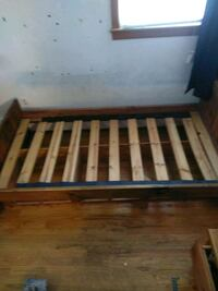 Wooden Twin Sized Bed Frame w/ Drawers
