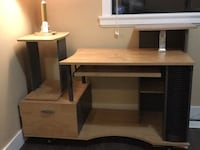 brown wooden computer desk with hutch 萨里, V3W 0L2