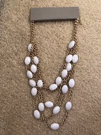 Gold and white beaded necklace Sterling, 20166