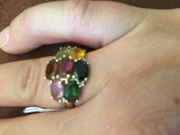 14k solid gold coloured stones ring size 8.5 Vaughan, L4K 3B9