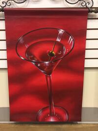 Red Wine Oil Painting on Canvas W/ Metal Rod 24 x 36 ( Brand New ) Industry, 91748