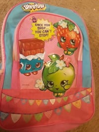 blue and pink shopkins backpack