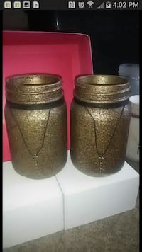 Handmade textured mason jar set
