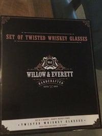 Willow & Everett twisted whiskey glasses with granite stones Dallas, 75209