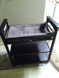 blue wooden frame changing table