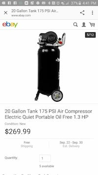 black electric quiet portable oil free air compressor Bowman, 29018