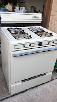 white 4-burner gas range oven
