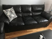 Brown leather 3 seaters and 1 seater couch