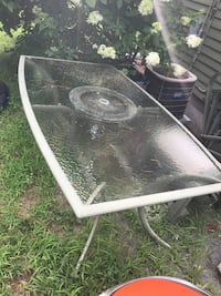 White metal framed glass top patio table Raynham, 02767