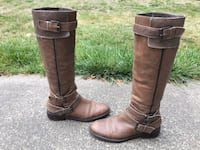 ENZO ANGIOLINI EASAYLEM BROWN LEATHER 3-BUCKLE SIDE ZIPPER RIDING BOOTS 9 1/2 M Puyallup, 98373
