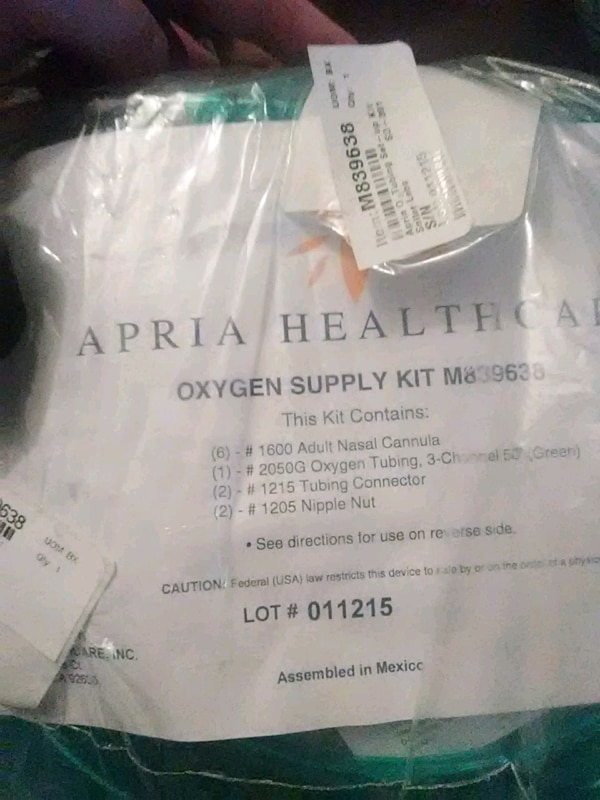 Apria Healthcare oxygen supply kit