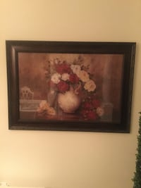 Large framed picture with roses