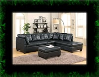 Black sectional with ottoman Ashburn