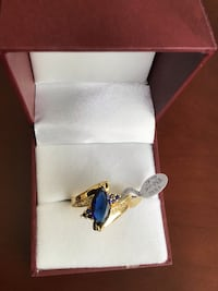 New, size 8.5 or 12, Blue Topaz Ring, 18K Gold Filled Chesapeake, 23320