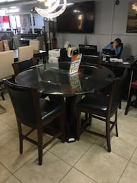 round black wooden table with four chairs dining set HOUSTON