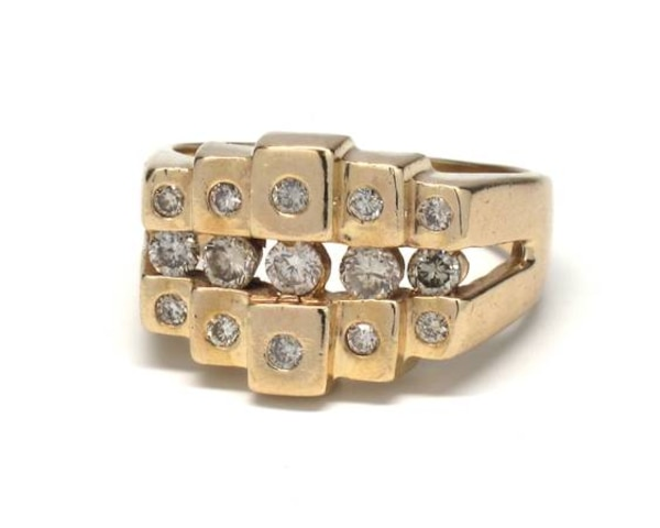 Mens 14K Gold/Diamond Nugget Ring