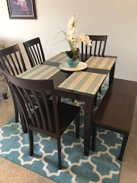 rectangular brown wooden table with six chairs dining set Adelphi