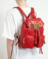 MOSCHINO red leather backpack