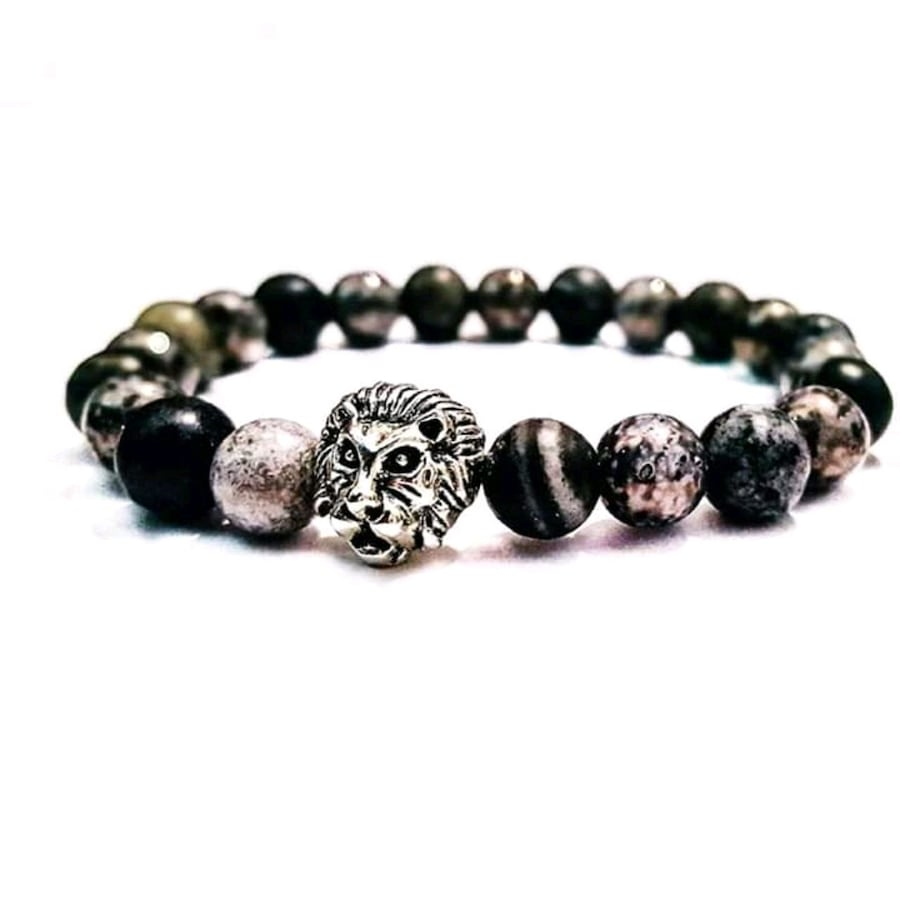 Lion agate, obsidian and hemalite gemstone bracelet