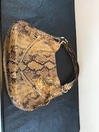 """Michael Kors Python Snake Leather Shoulder Handbag In good used condition. Measures @ 15"""" wide by 6"""" on bottom by 5"""" sides. Price is firm."""