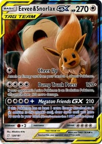 Pokemon Card - Evee&Snorlax GX__NEW