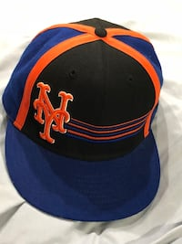 Blue, black, and orange new york fitted cap New York