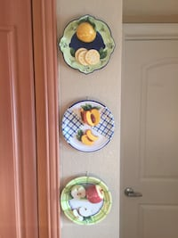 fruits in three ceramic plate wall decor