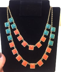 "Women's Designer Costume Gold-tone 2 Strand Necklace Coral and Turquoise Adjustable 17""-20"" Santa Rosa, 95404"