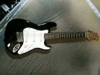 black and white stratocaster electric guitar Hemet, 92544