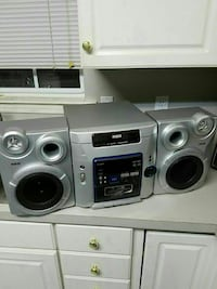 gray RCA stereo system