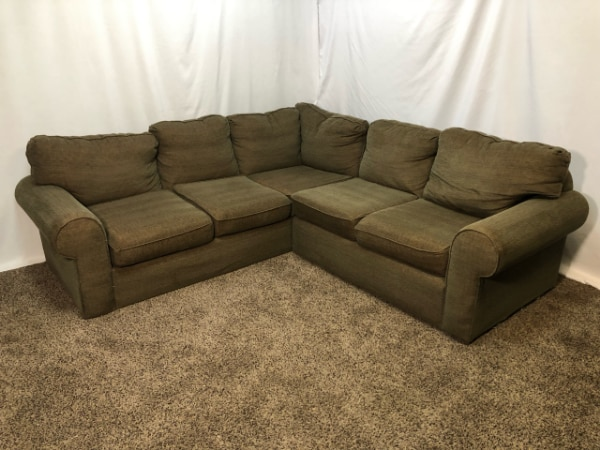 #1617 – Professionally Cleaned Dark Brown Tweed Fabric Sectional Sofa