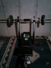 Workout bench and bar 100lb weights