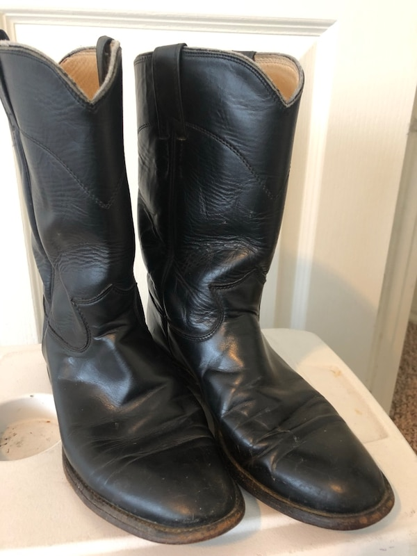 f32a2546fa8 Justin 3133 Size 10 Men's Black Leather Roper Western Cowboy Boots
