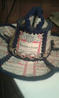 white and black Budweiser printed hat