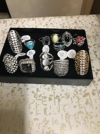 Lot of 12 ladies rings plated silver custom jewelry sizes 6,7,8,9,10 Gaithersburg, 20877
