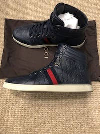 GUCCI NAVY BLUE LEATHER GG GUCCISSIMA HI TOP SNEAKERS 13 Phoenix