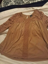 PXL brown suede like dress shirt with lace Arley, 35541