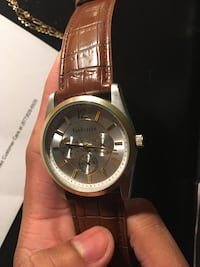 Round gold-colored analog watch with brown leather strap Merrillville, 46410