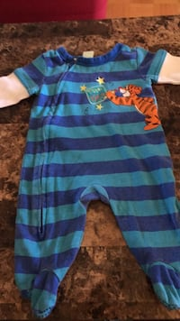 blue and green stripe long-sleeved onesie Châteauguay, J6K 2G1