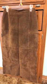 REDUCED PRICE!!! Beautiful Long Brown Suede Leather Skirt sz 10