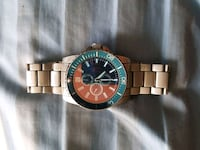 round gold chronograph watch with link bracelet Union City, 30291