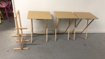 3 solid wood folding tables