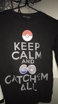 black Pokemon Keep Calm and Go Catch'em All printed sweater