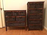 2 brown wicker dressers Toronto, M2M 1J2